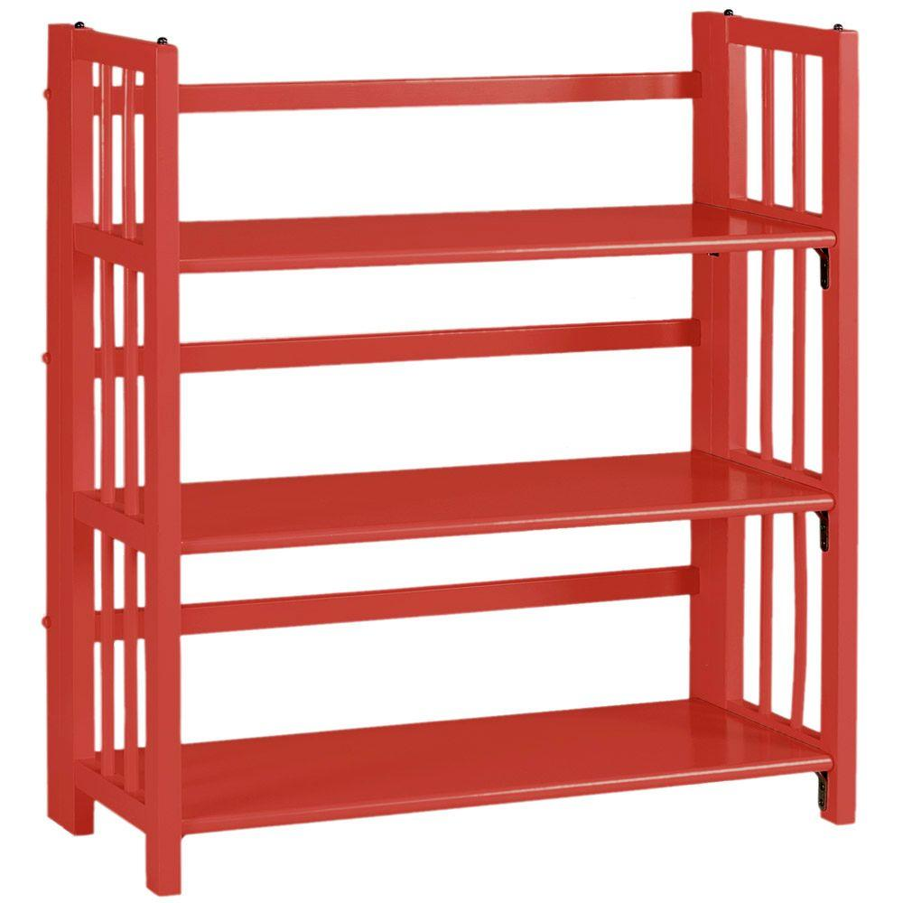 Home Decorators Collection Multimedia Storage 35 in. W Folding/Stacking Bookcase in Red