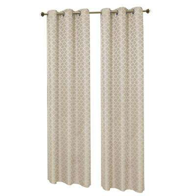 Semi-Opaque Ivory Sonata Woven Lattice Jacquard 76 in. x 84 in. Grommet Polyester Curtain Panel Pair (2-Pack)