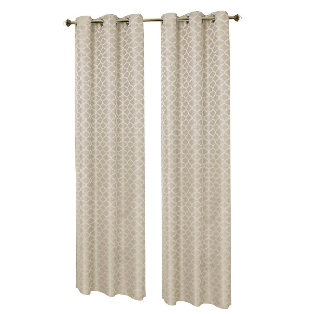 Creative Home Ideas Semi Opaque Ivory Sonata Woven Lattice Jacquard 76 In X 84 In Grommet Polyester Curtain Panel Pair 2 Pack Ymc002000 The Home Depot
