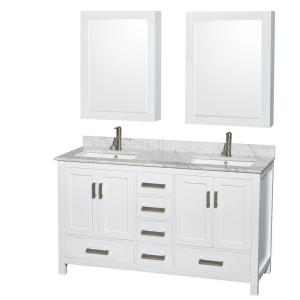 Wyndham Collection Sheffield 60 inch Double Vanity in White with Marble Vanity Top in Carrara White and Medicine... by Wyndham Collection