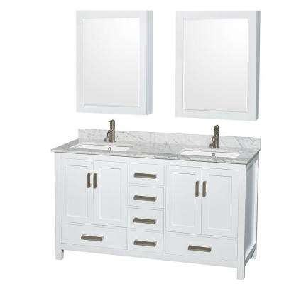 Sheffield 60 in. Double Vanity in White with Marble Vanity Top in Carrara White and Medicine Cabinets
