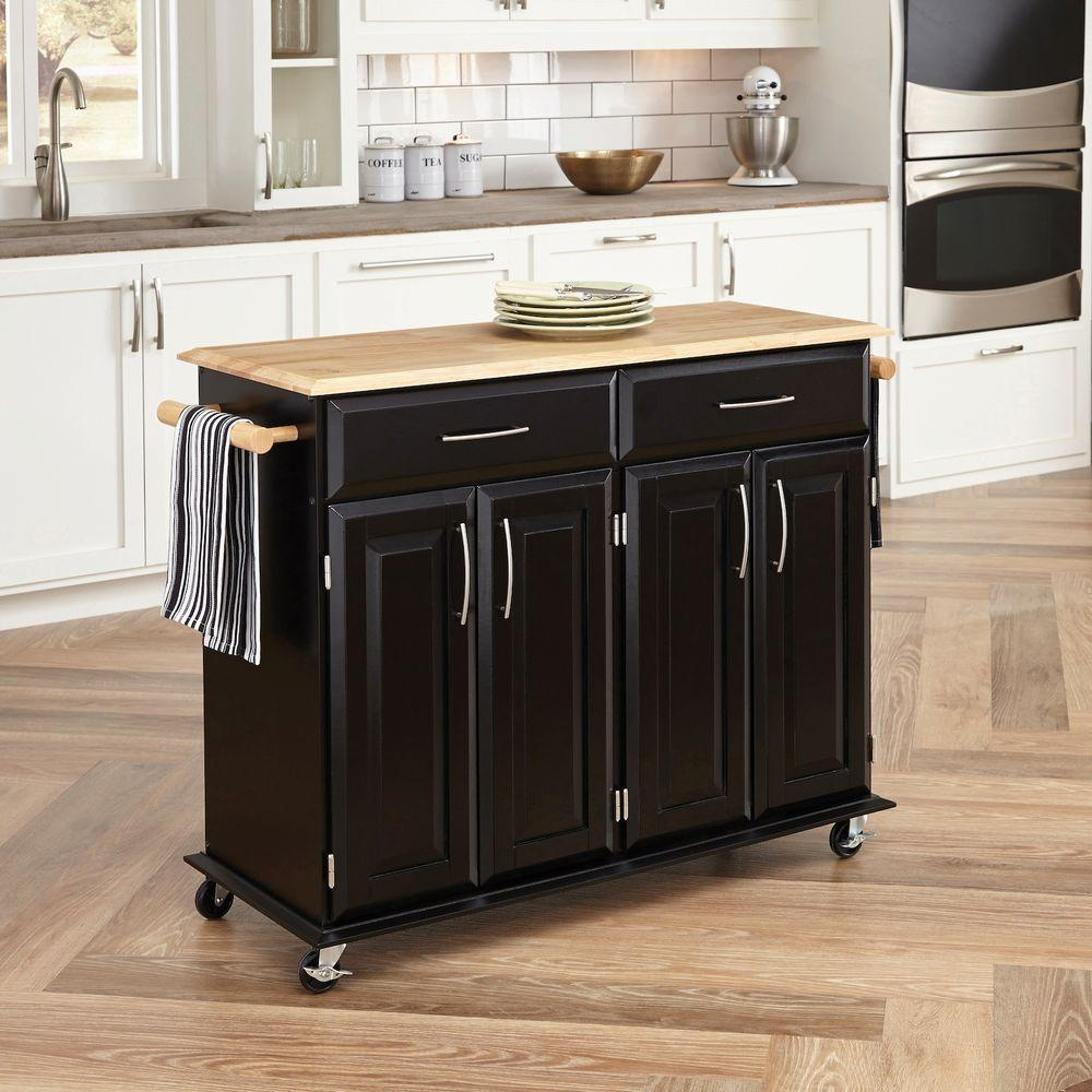 home styles dolly madison black kitchen cart with storage-4528-95