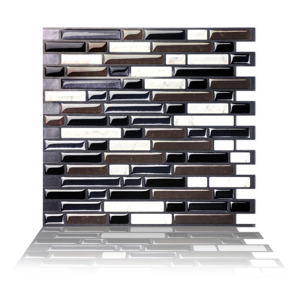 Como Black 10 in. W x 10 in. H Peel and Stick Self-Adhesive Decorative Mosaic Wall Tile Backsplash (5-Tiles)