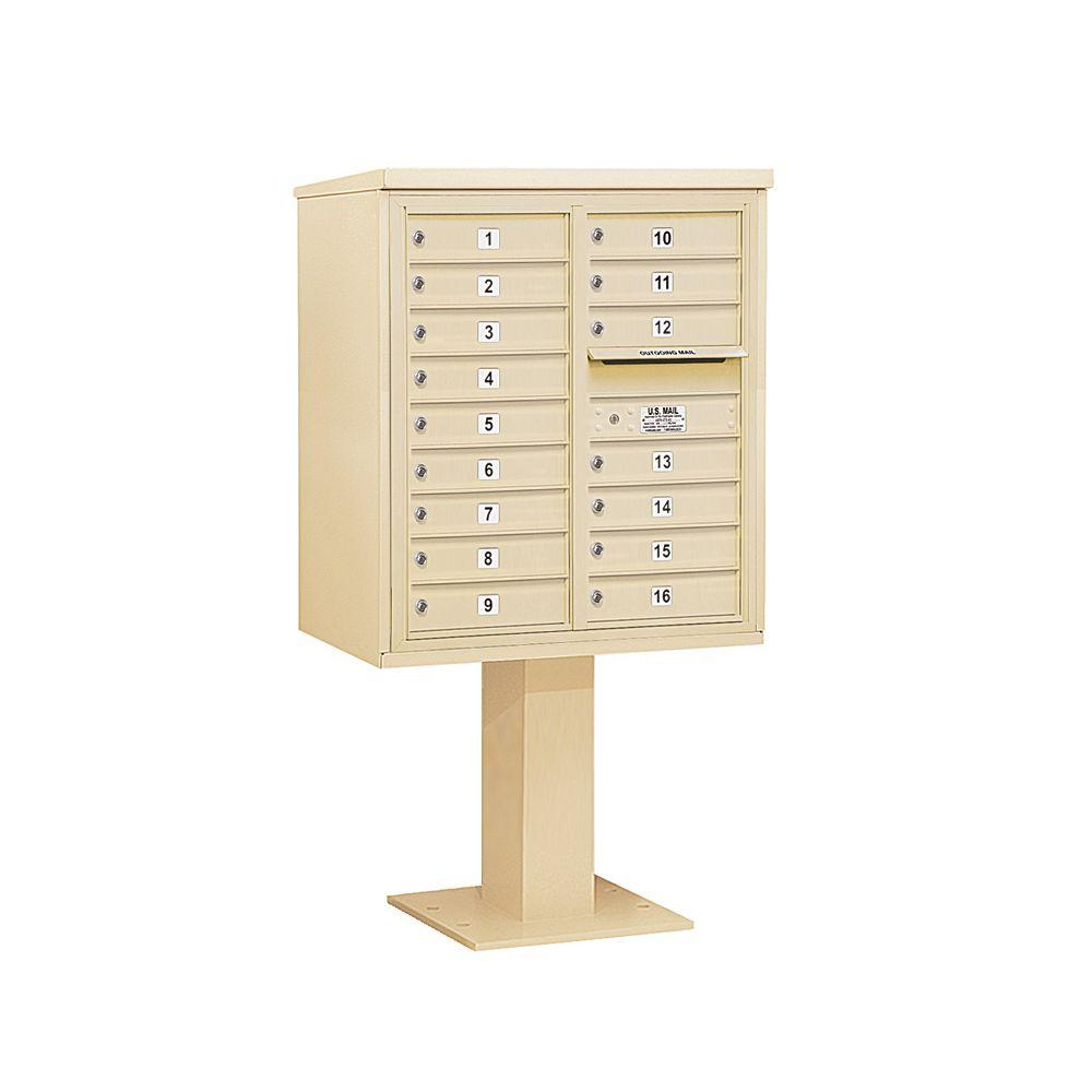 3400 Series Sandstone Mount 4C Pedestal Mailbox with 16 MB1 Doors