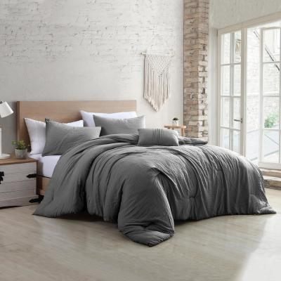 Beck 4-Piece Multi-Colored Grey Queen Garment-Washed Cotton Blend Comforter Set