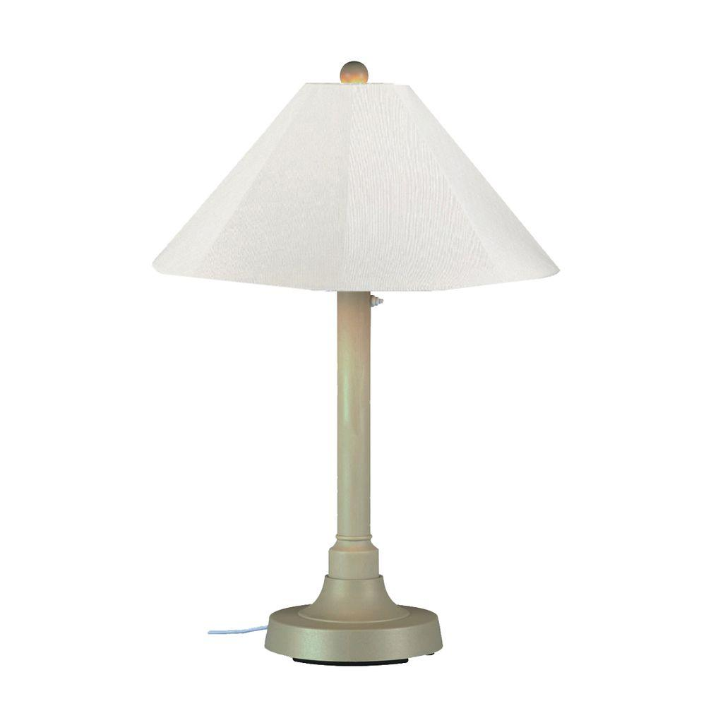 Patio Living Concepts San Juan 34 in. Outdoor Bisque Table Lamp with Natural Linen Shade