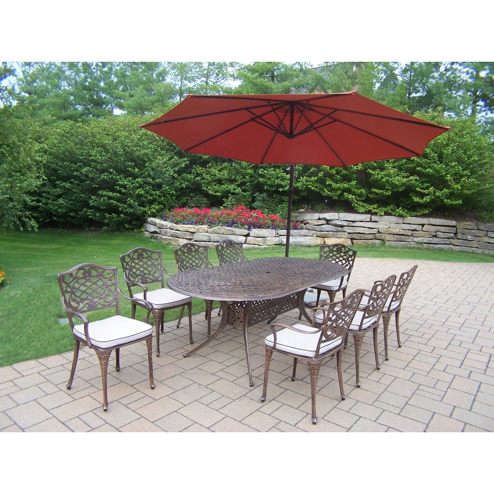 10-Piece Aluminum Outdoor Dining Set with Oatmeal Cushions and Burnt Orange