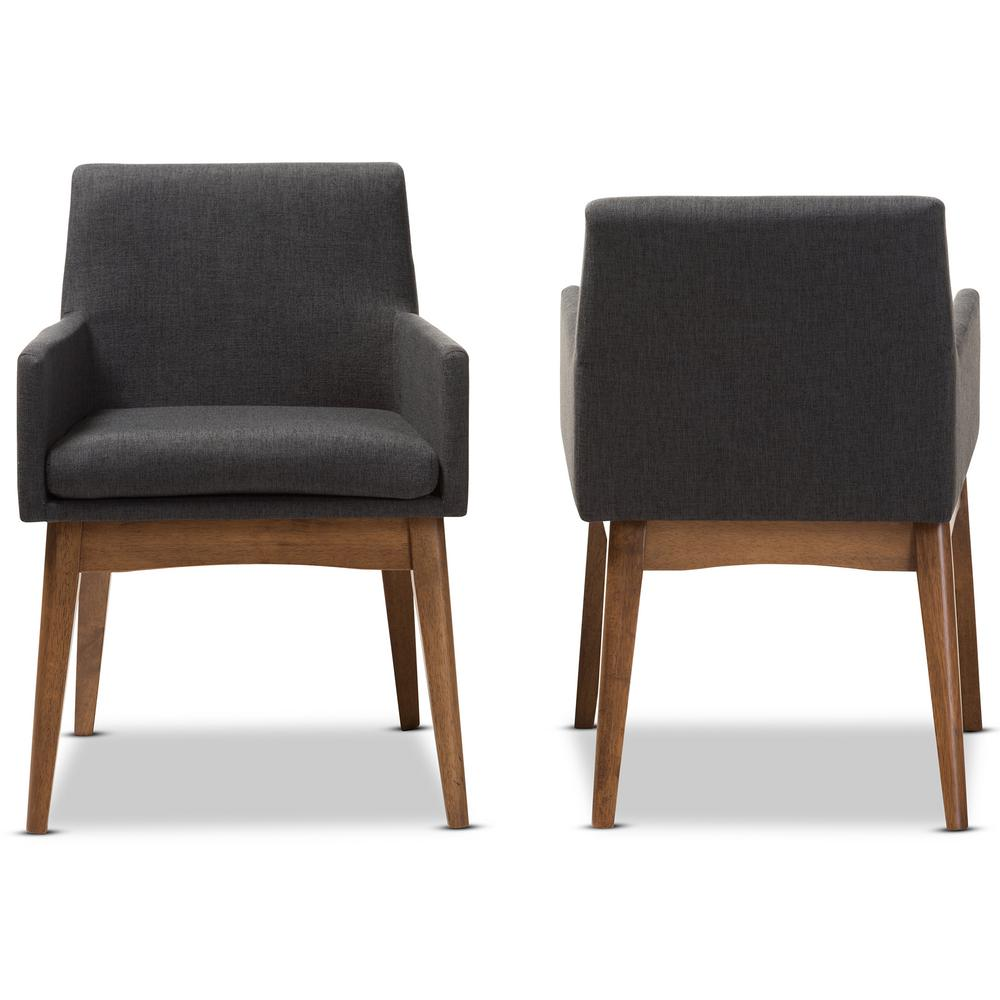 Nexus Dark Grey/Walnut Brown Fabric Dining ArmChair (Set of 2)