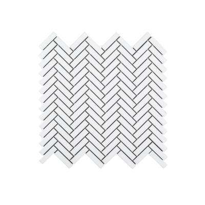 Herringbone Casacade 11 in. x 10.875 in. x 6 mm Porcelain Mosaic Tile