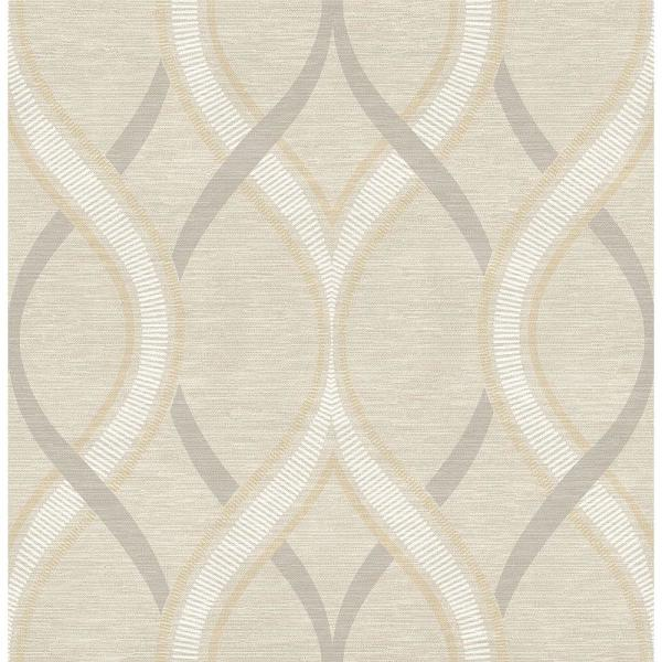 A-Street Frequency Beige Ogee Wallpaper Sample 2625-21849SAM