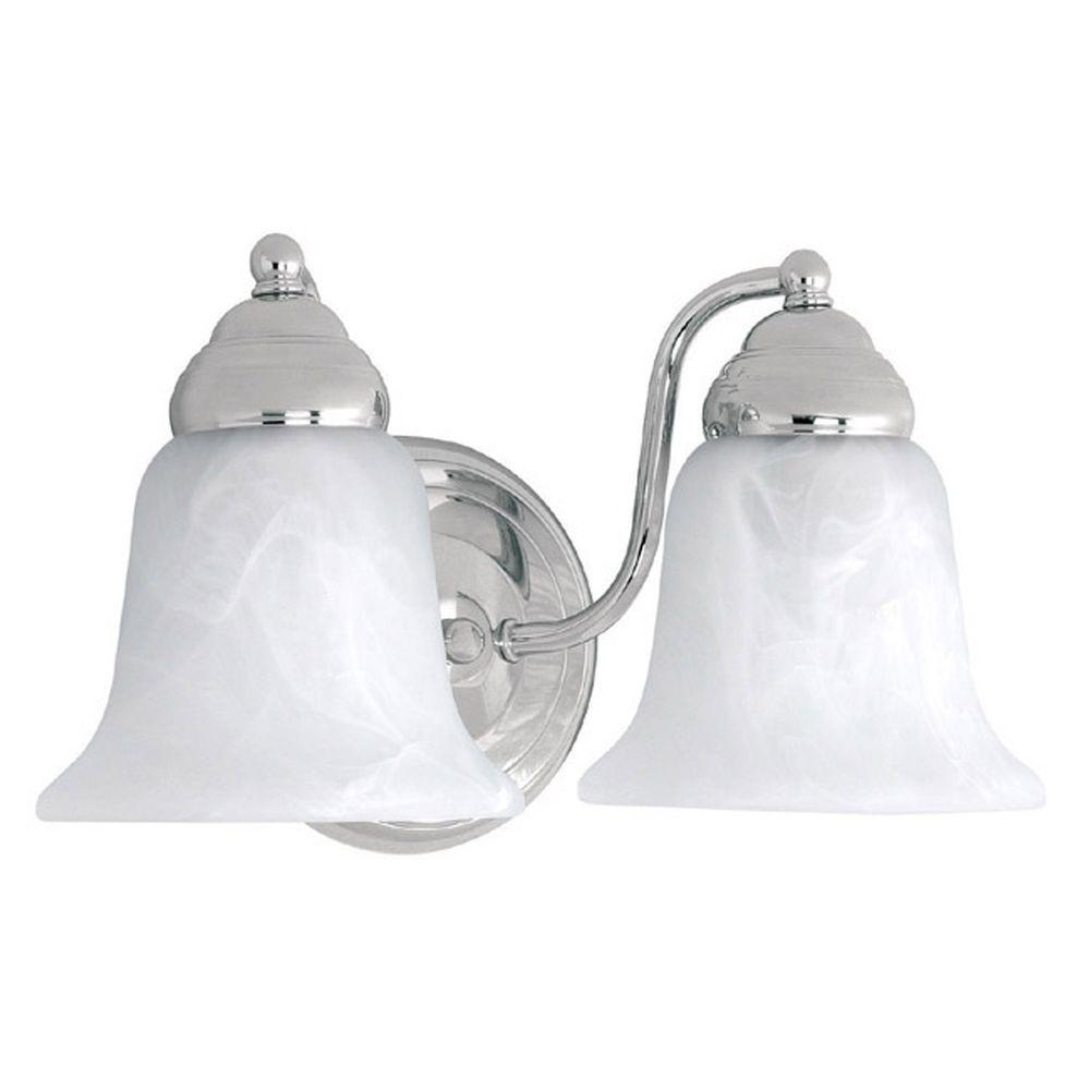 Filament Design 2-Light Chrome Vanity Light with Faux White Alabaster Glass