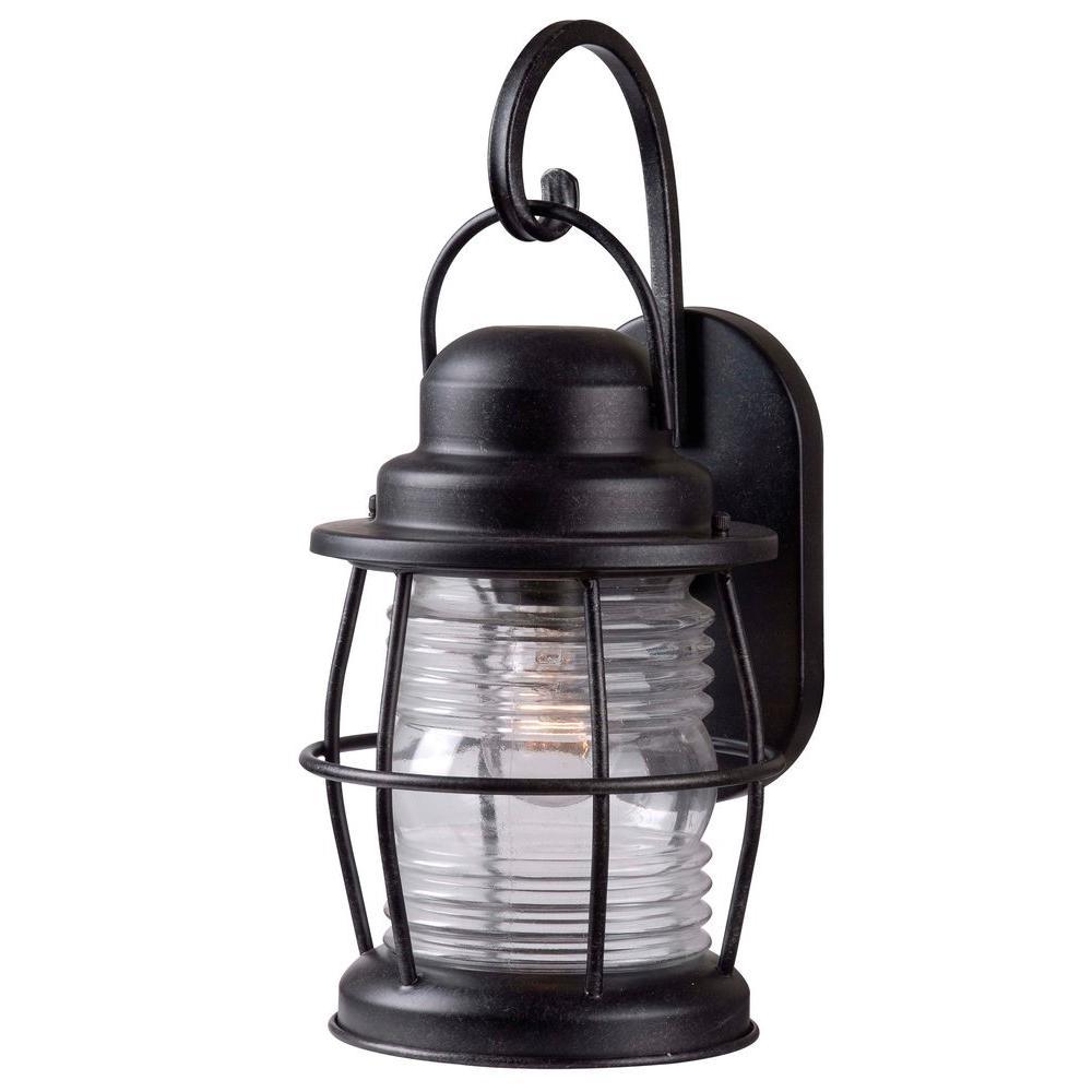 Kenroy Home Harbor 1-Light Aged Iron Outdoor Medium Wall Lantern