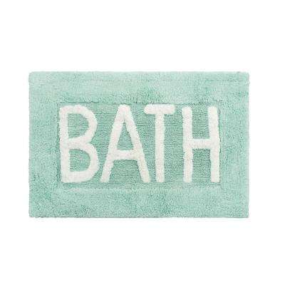 Cotton BATH 21 in. x 34 in. Aqua Rug