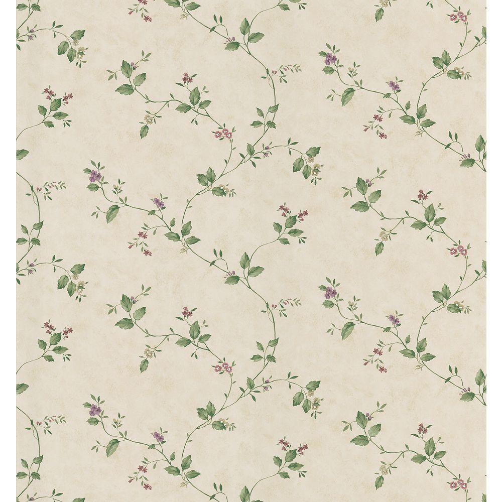 Cottage Living Green Floral Trail Wallpaper Sample