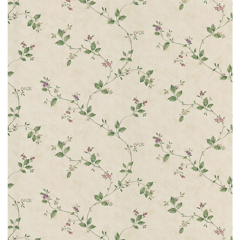 Cottage Living Green Floral Trail Wallpaper Sample