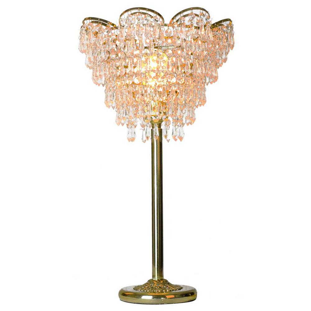River of goods 24 in gold table lamp with cascading crystal cut gold table lamp with cascading crystal cut glass geotapseo Gallery