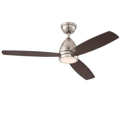 Savanna 52 in. LED Indoor Brushed Nickel Ceiling Fan with SkyPlug Technology