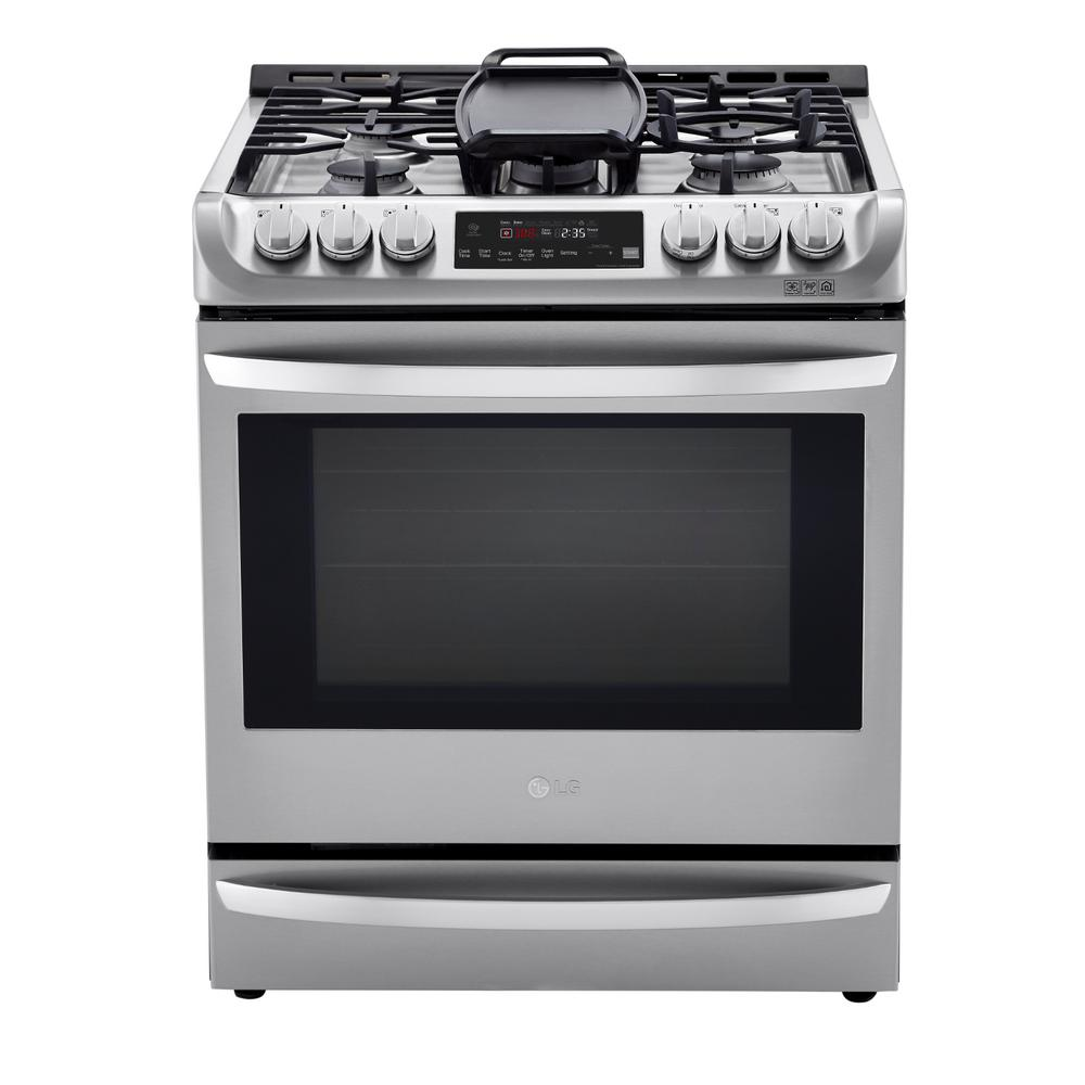 LG Electronics 6.3 cu. ft. Slide-In Smart Dual-Fuel Electric Range with ProBake Convection Oven and Wi-Fi in Stainless Steel