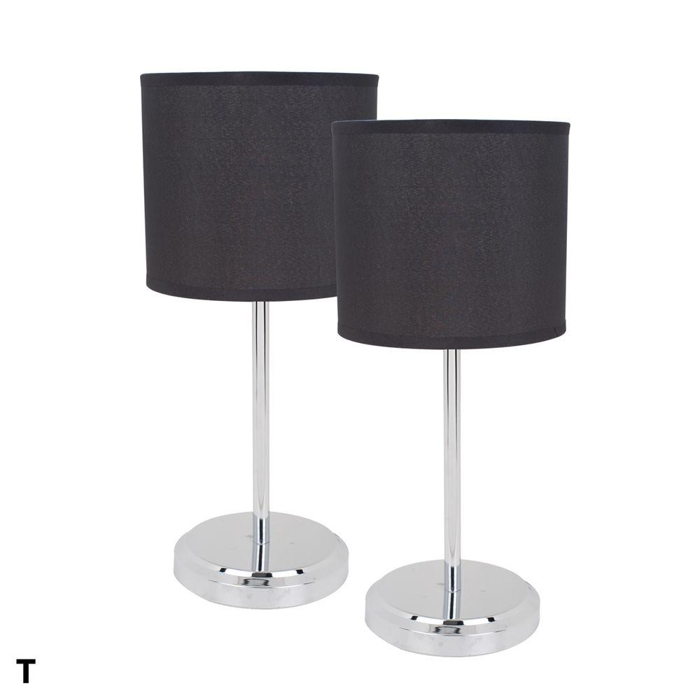 Globe Electric 18 in. Chrome Table Lamp Set (2-Pack)