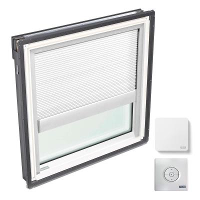 44-1/4 in. x 45-3/4 in. Fixed Deck Mount Skylight w/ Laminated Low-E3 Glass and White Solar Powered Room Darkening Blind