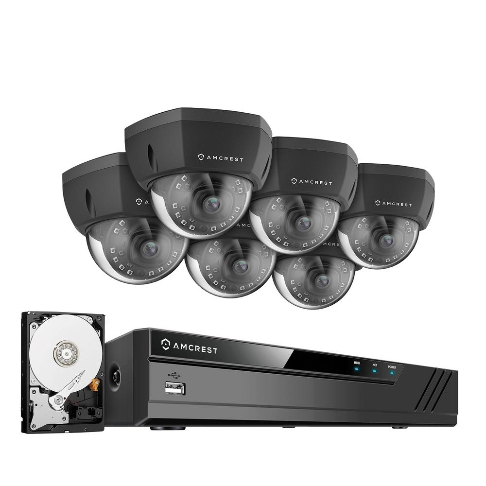 Amcrest Plug and Play H 265 8-Channel 4MP 2TB Hard Drive 4K NVR 1440p  Surveillance System with 6 Wired POE Dome Cameras