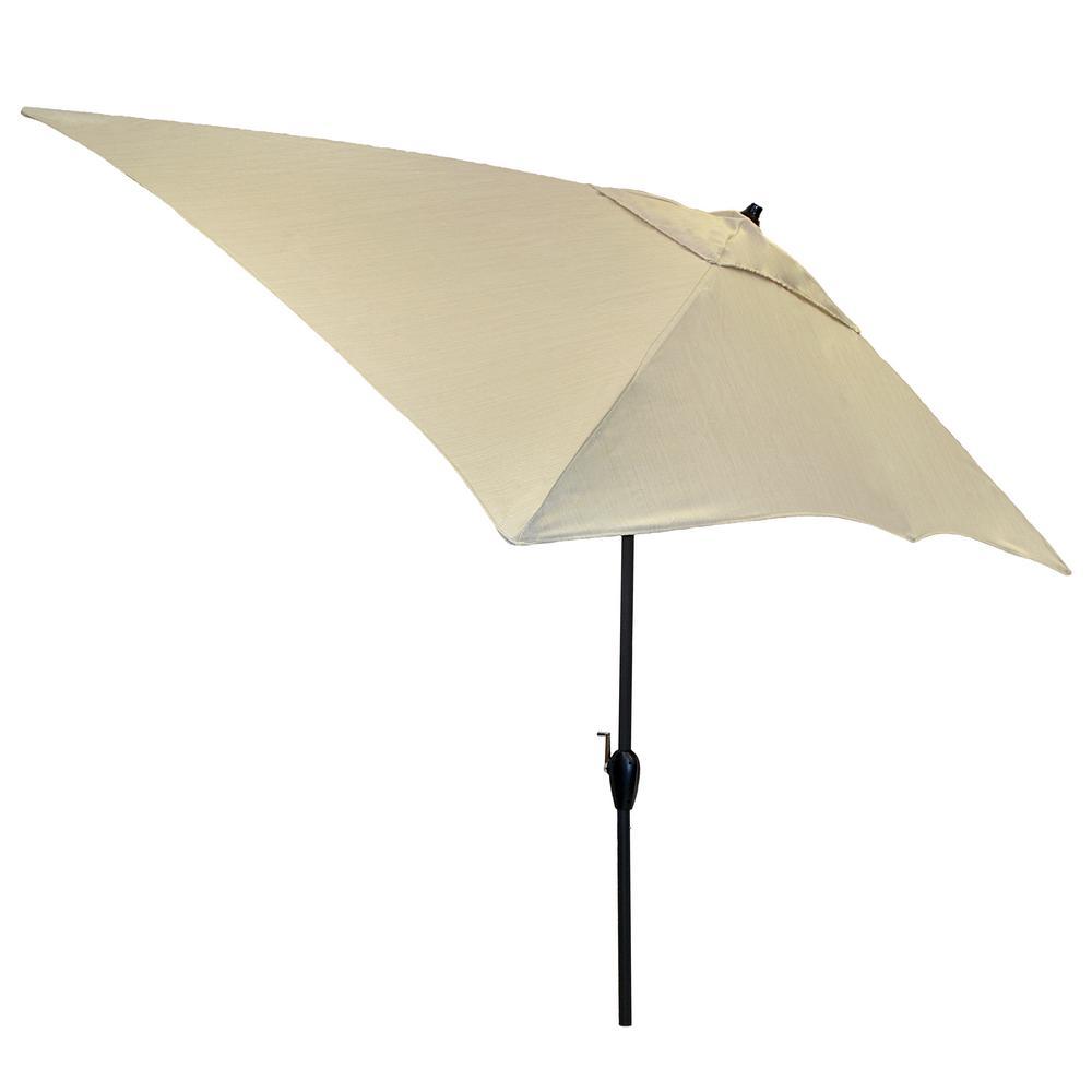 Hampton Bay 10 ft. x 6 ft. Aluminum Patio Umbrella in Oatmeal with Tilt