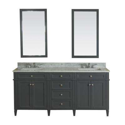 Samantha 72 in. W x 22 in. D Vanity in Gray with Marble Vanity Top in White with White Basin and Mirror
