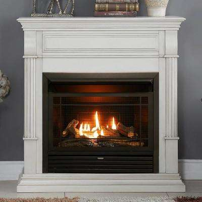 40 in. Ventless Dual Fuel Gas Fireplace in Antique White with Thermostat