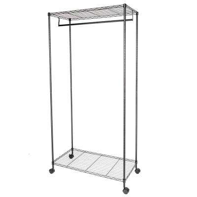Double Layer 35 in. x 71 in. Carbon Steel Black Garment Rack
