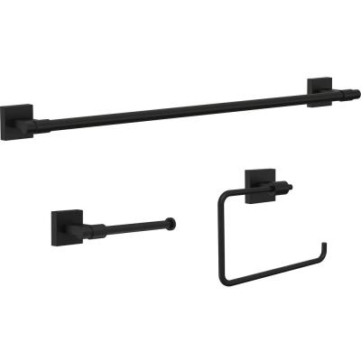 Maxted 3-Piece Bath Hardware Set with Towel Ring, Toilet Paper Holder and 24 in. Towel Bar in Matte Black