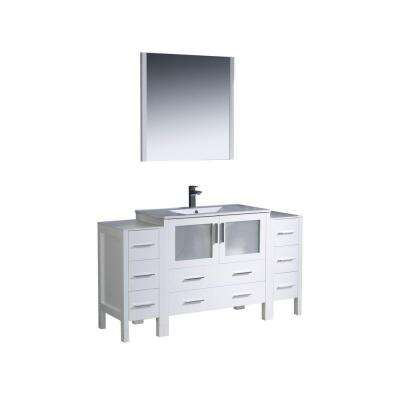 Torino 60 in. Vanity in White with Ceramic Vanity Top in White with White Basin and Mirror
