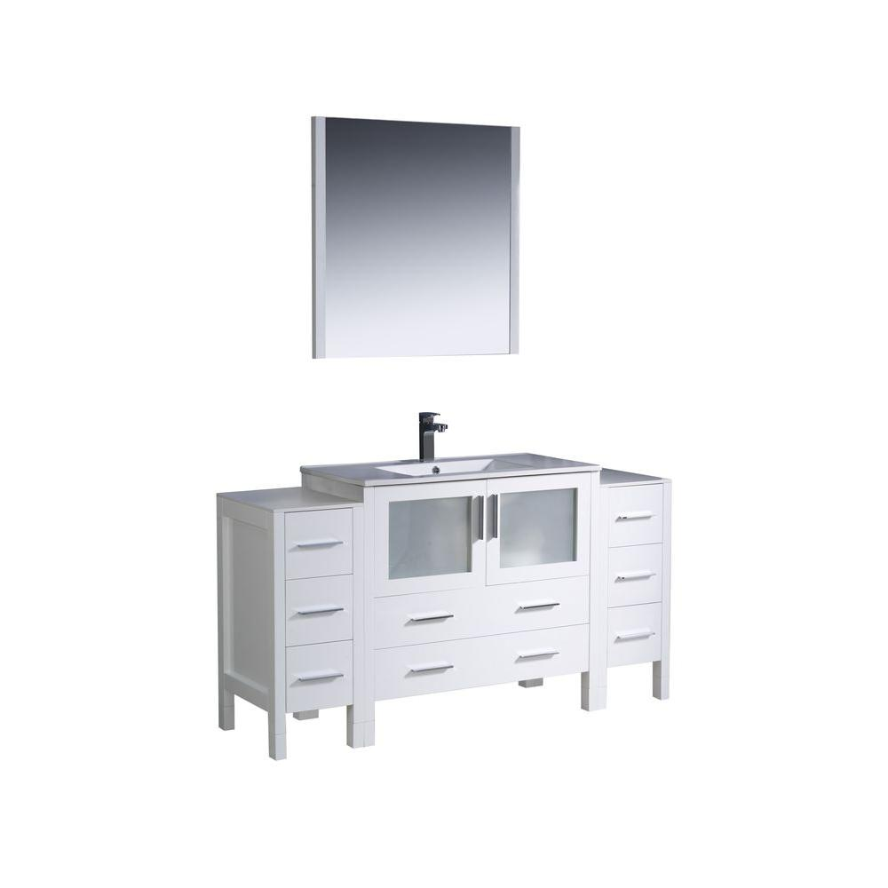Fresca Torino 60 In. Vanity In White With Ceramic Vanity Top In White With  White