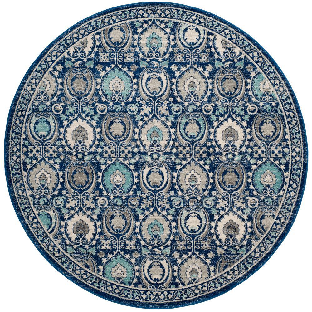 Evoke Blue/Ivory 7 ft. x 7 ft. Round Area Rug