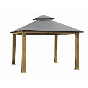 14 ft. x 14 ft. ACACIA Aluminum Gazebo with Mist Gray Canopy by