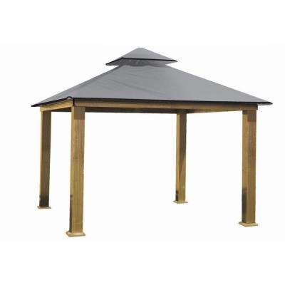 14 ft. x 14 ft. ACACIA Aluminum Gazebo with Mist Gray Canopy