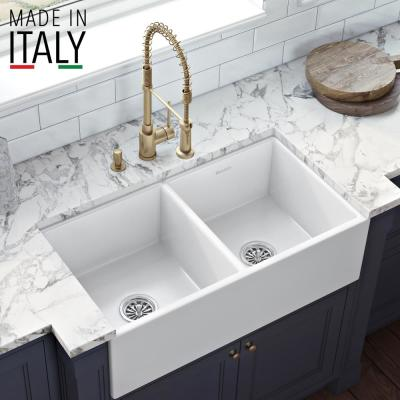 Farmhouse Apron-Front  Fireclay 33 in. Double Bowl Kitchen Sink in White