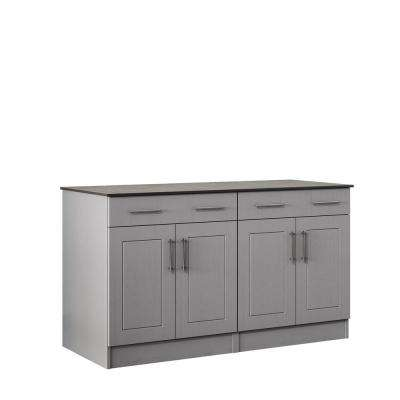 Palm Beach 59.5 in. Outdoor Cabinets with Countertop 4 Door and 2 Drawer in Gray