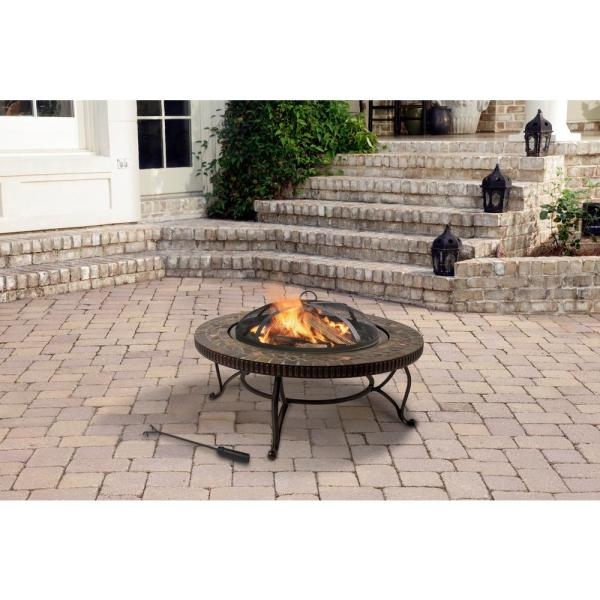 Pleasant Hearth Elizabeth 34 In X 19 69 In Round Steel Wood Fire Pit In Slate Ofw103ri The Home Depot