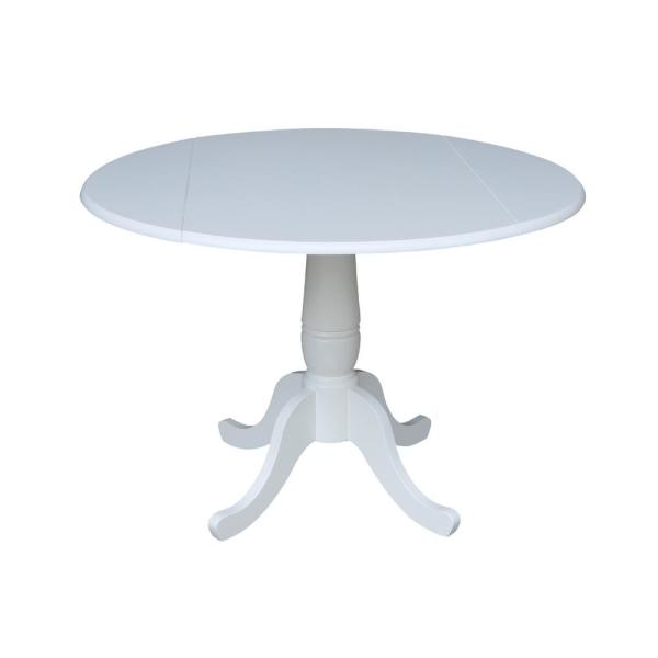 International Concepts Laurel White 42 In Drop Leaf Dining Table
