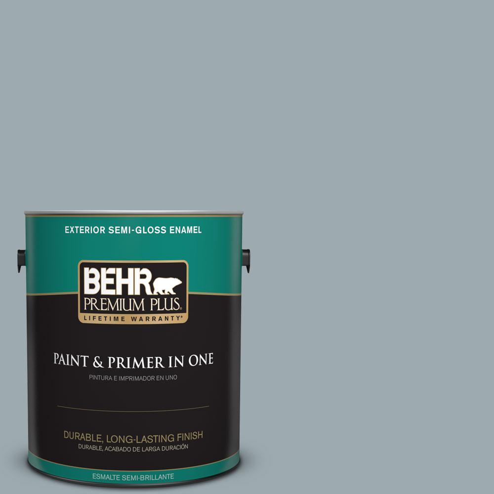 BEHR Premium Plus 1-gal. #ECC-30-1 Pelican Bay Semi-Gloss Enamel Exterior Paint