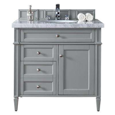 Brittany 36 in. W Single Vanity in Urban Gray with Marble Vanity Top in Carrara White with White Basin