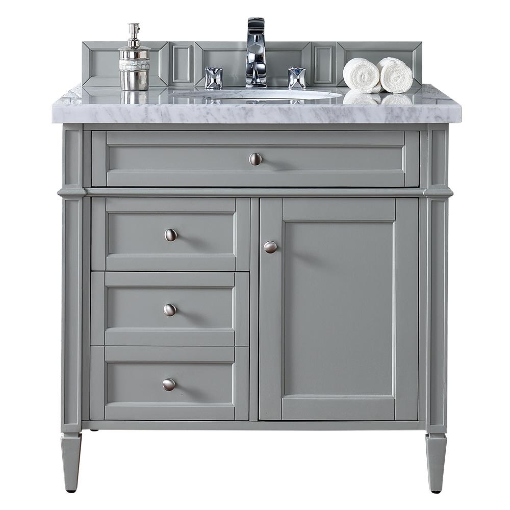 James Martin Vanities Brittany 36 in. W Single Vanity in Urban Gray with  Marble Vanity Top in Carrara White with White Basin