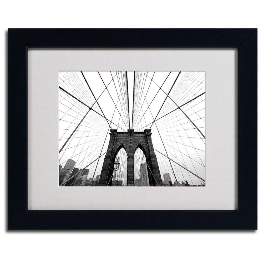11 in. x 14 in. NYC, Brooklyn Bridge Matted Framed Art