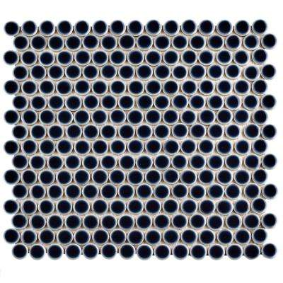 Hudson Penny Round Noir 12 in. x 12-5/8 in. x 5 mm Porcelain Mosaic Tile