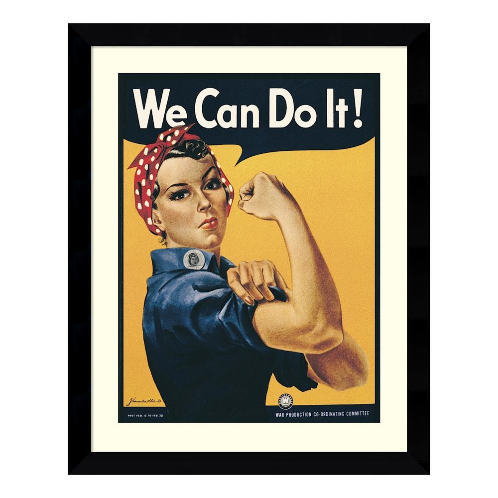 """25 in. W x 31 in. H 'Rosie The Riveter (""""We Can Do It"""")' by Howard Miller Printed Framed Wall Art"""