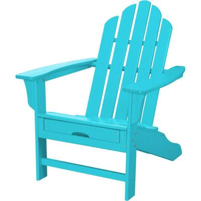 All-Weather Patio Adirondack Chair with Hide-Away Ottoman in Aruba Blue