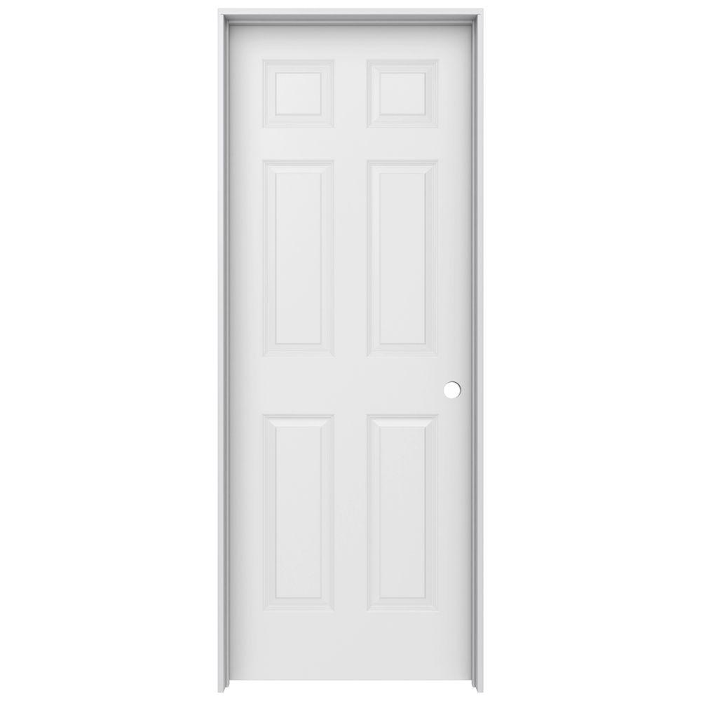 JELD-WEN 30 In. X 80 In. Colonist Primed Left-Hand Smooth Solid Core Molded Composite MDF Single