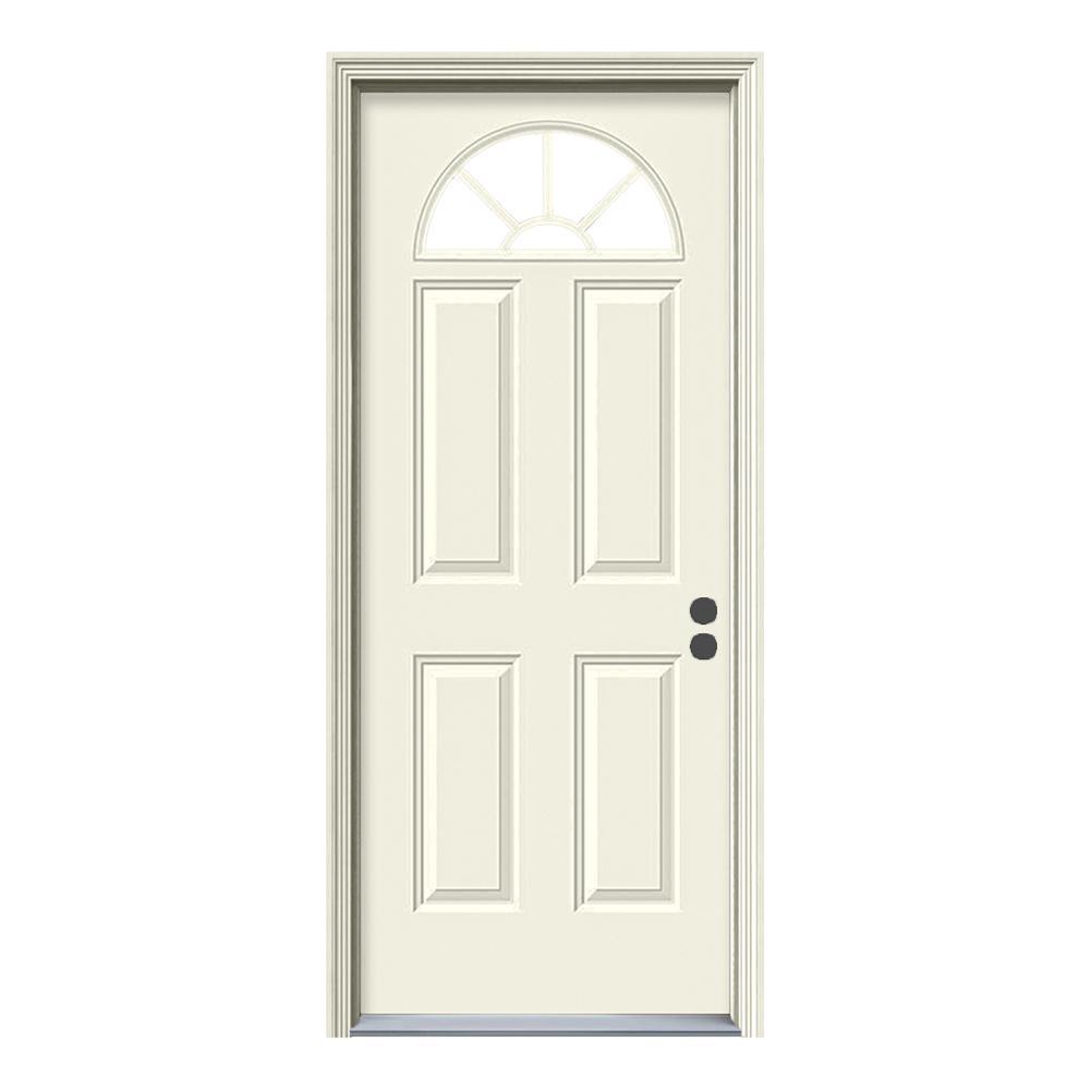 Jeld wen 30 in x 80 in fan lite primed steel prehung left hand inswing front door w brickmould 30 exterior door with glass