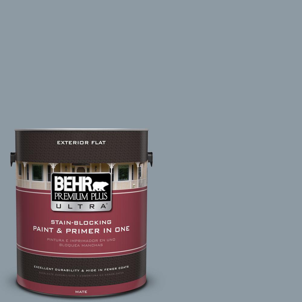 BEHR Premium Plus Ultra 1-gal. #N490-4 Teton Blue Flat Exterior Paint