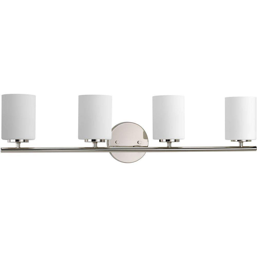 Progress Lighting Replay 4-Light Polished Nickel Bathroom Vanity Light with Glass Shades